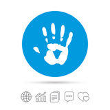 Hand print sign icon. Stop symbol. Copy files, chat speech bubble and chart web icons. Vector Stock Photo