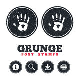 Hand print sign icon. Stop symbol. Grunge post stamps. Hand print sign icon. Stop symbol. Information, download and printer signs. Aged texture web buttons Royalty Free Stock Photography