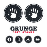Hand print sign icon. Stop symbol. Grunge post stamps. Hand print sign icon. Stop symbol. Information, download and printer signs. Aged texture web buttons Stock Images