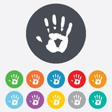 Hand print sign icon. Stop symbol. Stock Photos