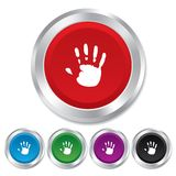 Hand print sign icon. Stop symbol. Royalty Free Stock Images