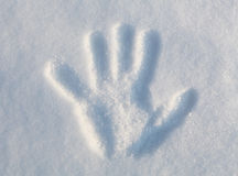 Hand Print in Snow Royalty Free Stock Images