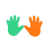 Hand print stickers. Of different colors Stock Photo