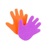 Hand print stickers. Of different colors Royalty Free Stock Image
