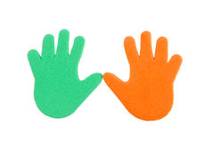 Hand print stickers. Of different colors Stock Photography