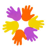 Hand print stickers. Of different colors Stock Photos