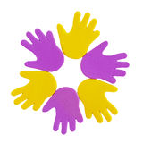 Hand print stickers. Of different colors Stock Images