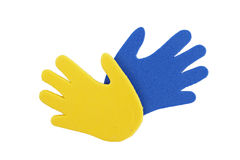 Hand print stickers. Of different colors Stock Image