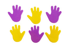 Hand print stickers. Of different colors isolated on white Stock Images