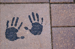 Hand Print in Stone Stock Images