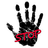 Hand print with stop sign. Isolated on white Stock Photo