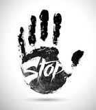 Hand print. With stop symbol Royalty Free Stock Images