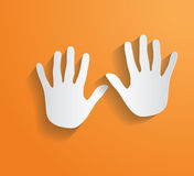 Hand Print  Vector flat long shadow Royalty Free Stock Image