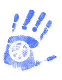 Hand print / Vector / Peace sign. Illustration of a hand-print with a peace symbol. Vector available Royalty Free Stock Photos