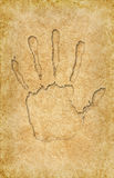 Hand print on vintage pattern Royalty Free Stock Image
