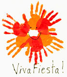 Hand print, viva fiesta. Colorful hand print and drawing by children Royalty Free Stock Photography