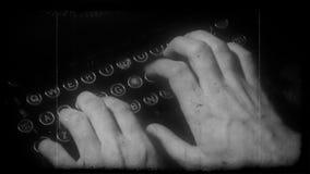 Hand printing on old typewriter stock footage