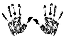 Hand prints. Vector design of hand prints black ink on white background Royalty Free Stock Images
