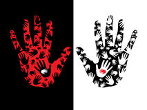 Hand prints. On black and white  background Royalty Free Stock Images