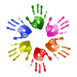Hand prints. Collection of colorful hand prints stock images