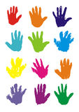 Hand Prints,. Coloured hands of children and teenagers Royalty Free Stock Photo