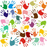 Hand prints. In different colors Stock Images