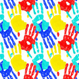 Hand prints. Colored hand prints - unity concept stock photo