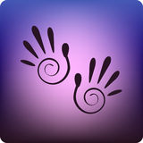 Hand prints. Tribal style on blue Stock Photo