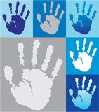 Hand Prints. These are tiled handprints in Blue and Gray hues vector illustration