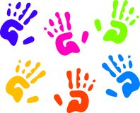 Hand prints. Childrens colourful hand prints isolated on white Stock Image