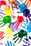 Hand prints. Color hand prints painted on a white paper Royalty Free Stock Photo