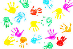 Hand prints of child isolated on a white. Background stock image