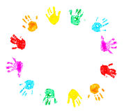 Hand prints of child isolated on a white Stock Photography
