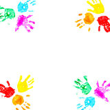 Hand prints of child isolated on a white Stock Photos