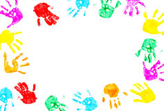 Hand prints of child isolated on a white Royalty Free Stock Images