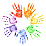 Hand prints in a circle Stock Photo