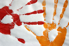 Hand prints in colour. Hand prints on paper. In colour, made with paint vector illustration