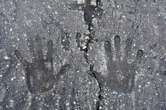 Hand prints in concrete Royalty Free Stock Photos