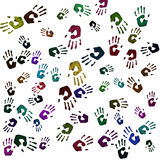Hand prints of different colours Stock Photo