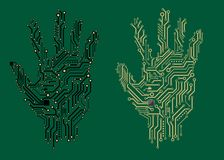 Hand prints with electrical circuit boards Royalty Free Stock Image