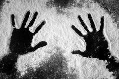 Hand prints in flour Stock Photography