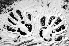 Hand prints in flour Royalty Free Stock Photos