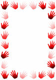 Hand prints frame card red tones. Frame or border card with human hand prints Royalty Free Stock Photos
