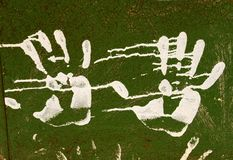Hand prints. On the metal royalty free stock photography