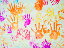 Hand prints of kids Stock Photos