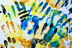 Hand prints mural stock images