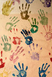 Hand prints painted on a wall. Brno, Czech republic 12.8.2014 royalty free stock photos