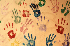 Hand prints painted on a wall. Brno, Czech republic 12. 8. 2014 stock photos