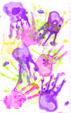 Hand prints on paper. Royalty Free Stock Images