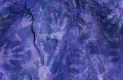 Hand prints on rock Royalty Free Stock Photography